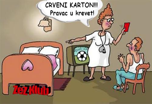 Crveni karton @ crtane slike - humor u stripu