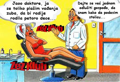 Jaoo doktore ja se toliko plašim vađenja zuba @ crtane slike - humor u stripu