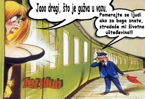 Jaoo dragi, što je gužva u vozu @ crtane slike - humor u stripu