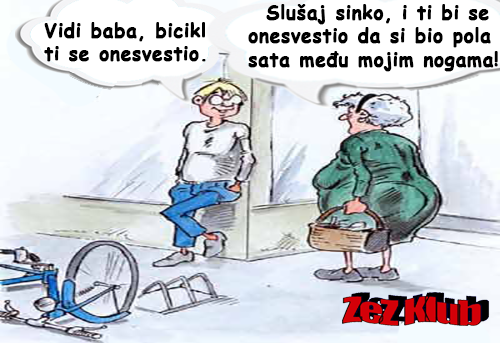 Vidi baba, bicikl ti se onesvestio @ crtane slike - humor u stripu
