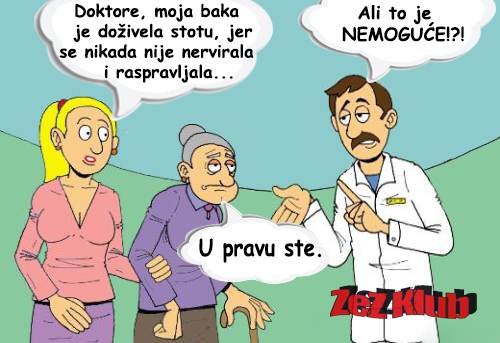 Doktore, moja baka je doživela stotu @ crtane slike - humor u stripu