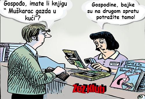 Gospođo imate li knjigu muškarac gazda u kući @ crtane slike - humor u stripu