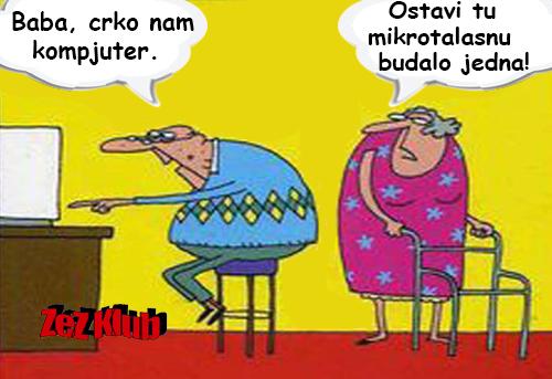 Baba, crko nam kompjuter @ crtane slike - humor u stripu