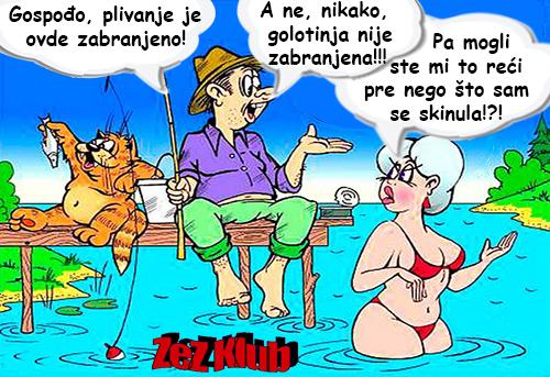 Crtane slike, humor u stripu @ Gospođo plivanje je ovde zabranjeno